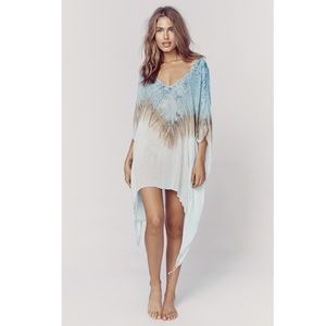 Blue Life Neck Cape Cool Blue Coral Reef Cover Up